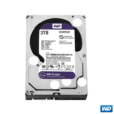"""WD 3TB Purple 3,5"""" 64MB SATA 3 7/24 Disk WD30PURZ"""