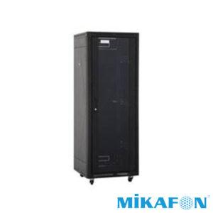 Mikafon 8U Rack Kabin Kilitli Camlı Tekerlekli